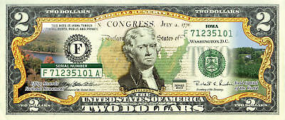 IOWA State/Park COLORIZED Legal Tender U.S. $2 Bill w/Security Features