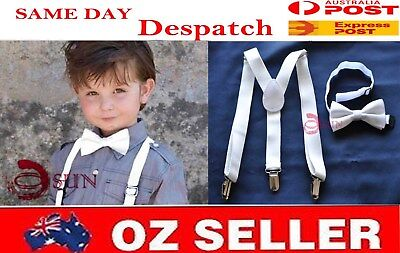 9bdb76e06a95 BOYS Girl KIDS White Braces Elastic Suspenders Bowtie Bow Tie 1-8 Years Old