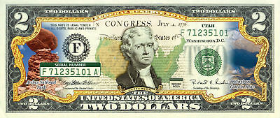 UTAH State/Park COLORIZED Legal Tender U.S. $2 Bill w/Security Features