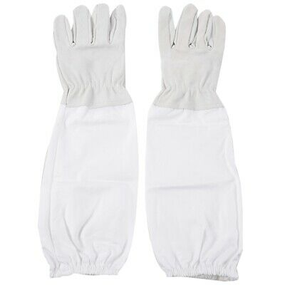 Beekeeping Protective Gloves with Vented Long Sleeves Grey & White N8G9