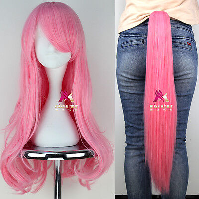 New Pony Fluttershy Long Wavy Pink Anime Cosplay Wig + Claw Ponytail Set #mz012