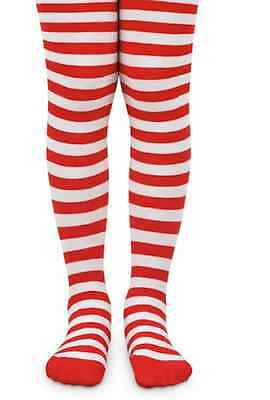 Candy Cane Striped Tights Red White Stripes Rag Doll Costume Ages 2-10