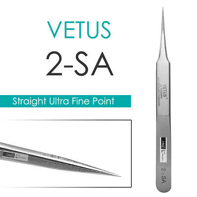 VETUS 2-SA Straight Ultra Precise Extra Fine Point Tweezers Eyelash Extension
