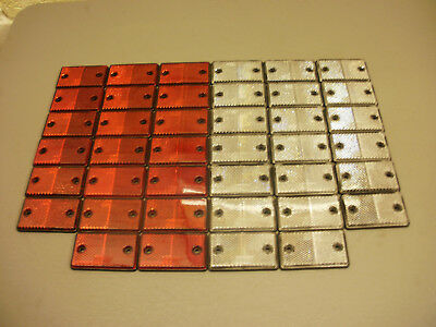 40 x Red & White Square Reflectors for Driveway Gate Fence Posts & Trailers
