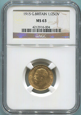 1915 Great Britain Gold Half Sovereign, NGC MS63. King George V