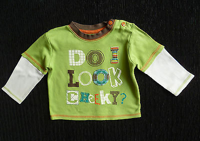 Baby clothes BOY 6-9m George green long sleeve top SEE SHOP! COMBINE POSTAGE!