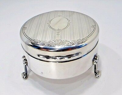 Solid STERLING silver footed JEWELRY Box BIRKS Pre 1940's ART DECO NO monogramm