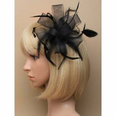 Black fascinator comb with looped net ribbon and feather tendrils