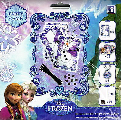 DISNEY FROZEN BUILD AN OLAF PARTY GAME - FOR 6 PLAYERS inc MEDALS and STICKERS