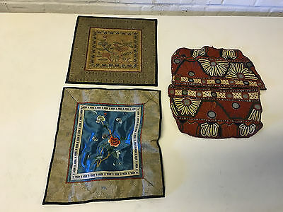 Vintage Antique Lot of 3 Asian Chinese Textiles 1 w/ Mirrors 2 w/ Birds