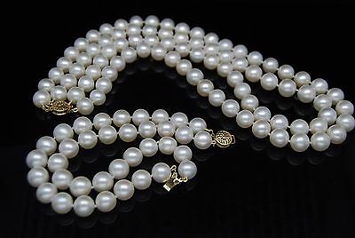 GW Natural AAAA white Double strand 7-8MM necklace with bracelet 14K pearl set