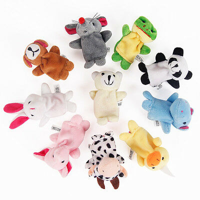 2PCS Family Finger Puppets Cloth Doll Baby Educational Hand Cartoon Animal Toy