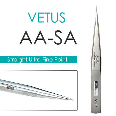 VETUS AA-SA Straight Ultra Precise Extra Fine Point Tweezers Eyelash Extension
