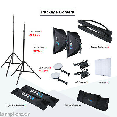 Photography Studio LED Continuous Lighting 50x70cm Photo Softbox Light Stand Kit