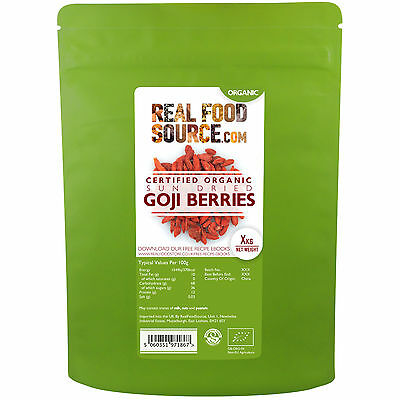 RealFoodSource Certified Organic Goji Berries, 500G For Only £9.49