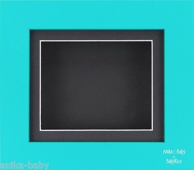 "New 6x5"" Blue frame Black inserts Baby Boy 3D Casts Framing Shadow Box Display"