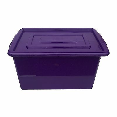 Purple Plastic Large 52L Litre Stoarage Box Tub Container With Lid Toy Box Kids