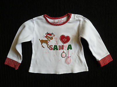 Baby clothes GIRL 3-6m Christmas Santa red/white long sleeve cotton top SEE SHOP