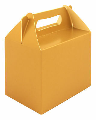 6 Gold Party Boxes - Food Loot Lunch Cardboard Gift Wedding/Kids Childrens