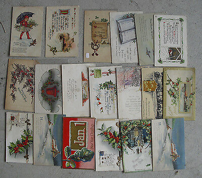 Lot of 19 Vintage 1900 1910s Postcards Happy New Year LOOK