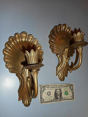 Pair of Ornate Brass Candle Sconces Clamshell