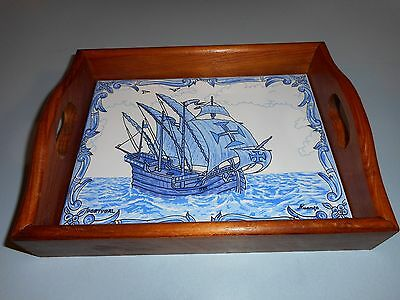 Delft Porcelain Tray Portugal Ship Galleon Signed