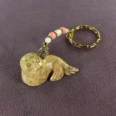 SEAL TOTEM SOAPSTONE KEY CHAIN Charm Fish Magick Sea Lion Seashells
