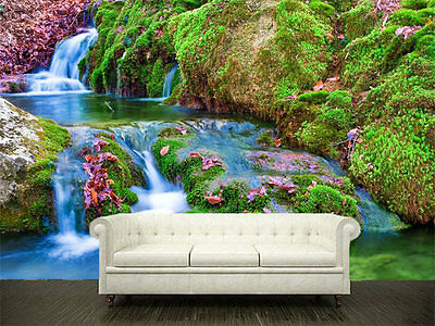 3D Nature Stream Waterfall Full Wall Mural Photo Wallpaper Print Paper Home Deco