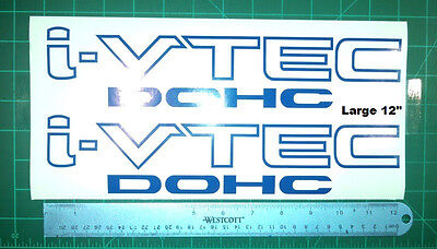 Honda I-Vtec 12inch DOHC Decal Stickers Set of 2 LG Civic Accord Prelude CRX
