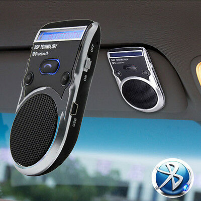 Solar Powered LED Speaker Bluetooth Handsfree Car Kit For Mobile Phone Cellphone
