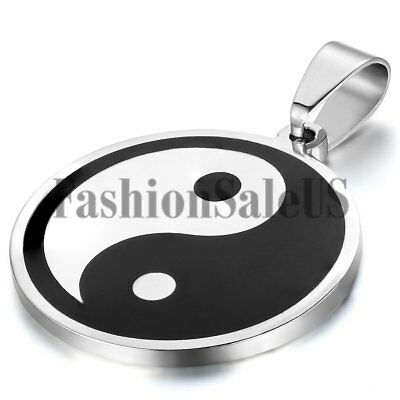 Mens Womens Stainless Steel Tai Chi Yin Yang Pendant Lucky Necklace With Chain
