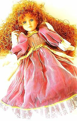 """Valentine Victorian Angel Doll Bisque Porcelain Feather Wings VTG Red Hair 22"""""""