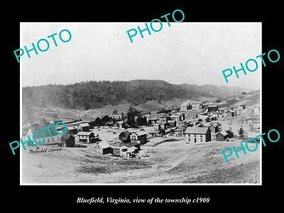 OLD LARGE HISTORIC PHOTO OF BLUEFIELD VIRGINIA, VIEW OF THE TOWNSHIP c1900