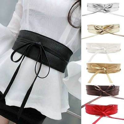 Womens Faux Leather Wide Self Tie Wrap Around Obi Waist Band Boho Dress Belt