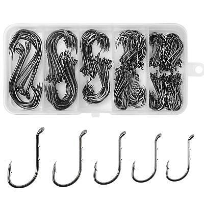 200pcs Octopus Barbed Fishing Hook 8299 High Carbon Steel Black Fish Hooks kit