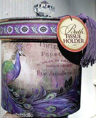 pUNCH sTUDIO Boudoir Toilet Tissue Holder w/Purple Tassel ~ Aiguillerie Peacock