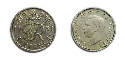 Great Britain Coins 1951 George VI Sixpence / Six pence 6p / Circulated