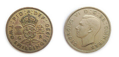 Great Britain Coins 1950 British Florin / Two Bob Bit / 2 Shillings / Circulated