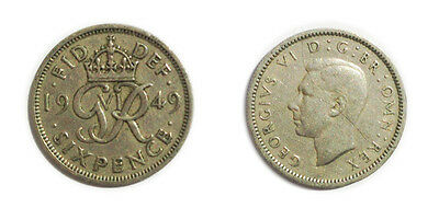 Great Britain Coins 1949 George VI Sixpence / Six pence 6p / Circulated