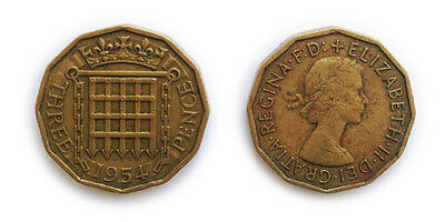 Great Britain Coins 1954 British Threepenny Bit / Three Pence 3p / Circulated