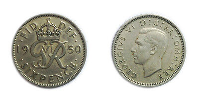 Great Britain Coins 1950 George VI Sixpence / Six pence 6p / Circulated
