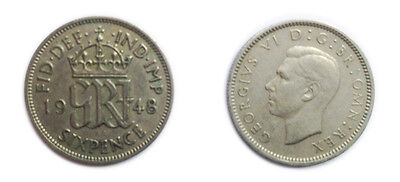 Great Britain Coins 1948 George VI Sixpence / Six pence 6p / Circulated