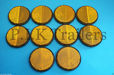 10 x AMBER Side Self Adhesive Stick on 60mm Round Reflectors - Trailer
