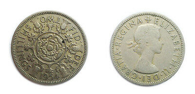 Great Britain Coins 1954 Florin / Two Bob Bit / 2 Shillings / Circulated