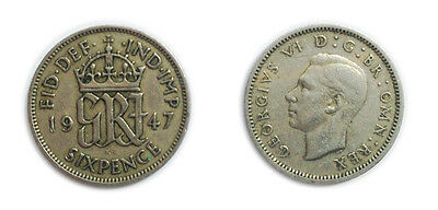 Great Britain Coins 1947 George VI Sixpence / Six pence 6p / Circulated