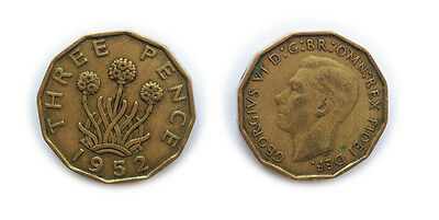 Great Britain Coins 1952 British Threepenny Bit / Three Pence 3p / Circulated