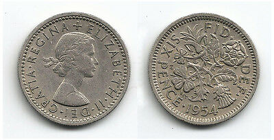 Great Britain Coins 1954 Sixpence / six pence / 6p / Circulated