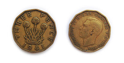 Great Britain Coins 1941 British Threepenny Bit / Three Pence 3p / Circulated