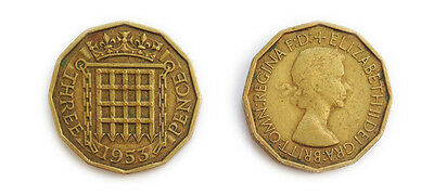 Great Britain Coins 1953 British Threepenny Bit / Three Pence 3p / Circulated