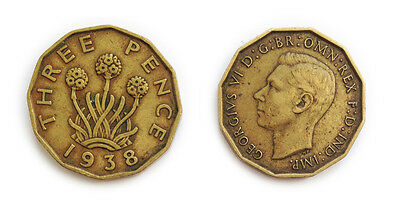 Great Britain Coins 1938 British Threepenny Bit / Three Pence 3p / Circulated